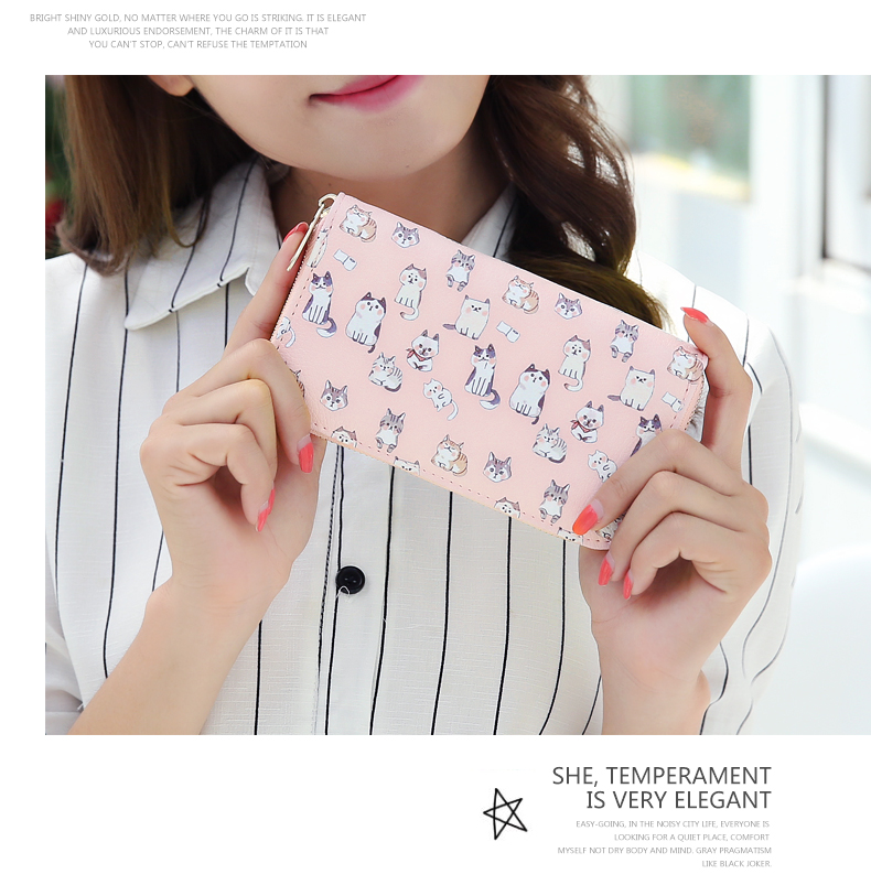 Women Wallet Mini Korean Style Zipper Fresh Student Cute Cat Printing PU Pink Blue Small Coin Purse Female dollar price women cute cat small wallet zipper wallet brand designed pu leather women coin purse female wallet card holder