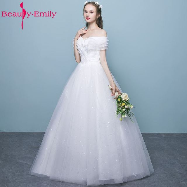 Beauty Emily Princess Bride Simple White Wedding Dresses 2017 Scoop ...