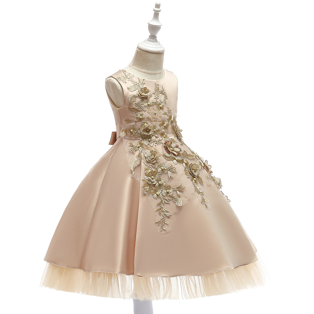 Champagne   Flower     Girl     Dresses   for Weddings Lace Appliques Communion   Dresses   Pageant   Dress   Prom Evening   Dress   for Little   Girl