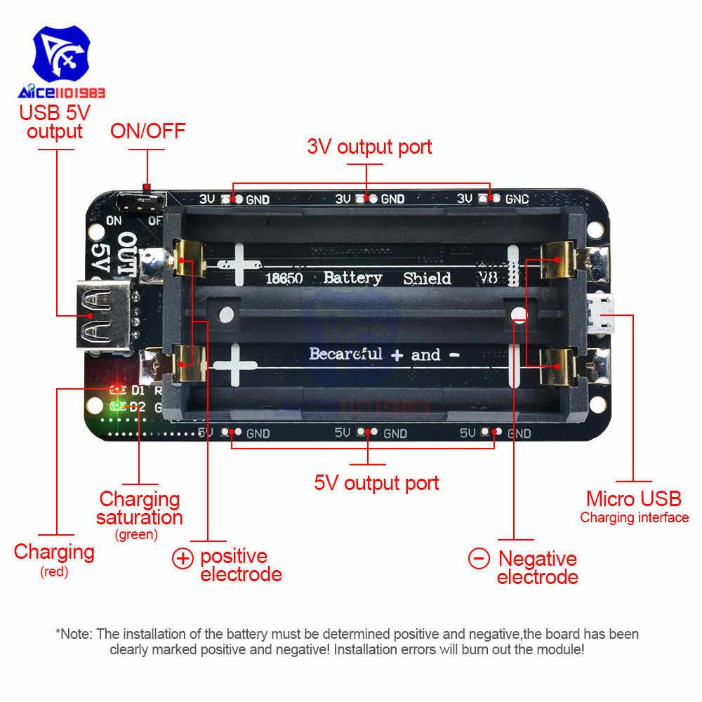 ESP32 ESP32S WeMos المزدوج 18650 بطارية ليثيوم شحن درع المجلس V8 5 فولت/3A 3 فولت/1A ل اردوينو بطارية خزان الطاقة وحدة شاحن