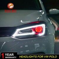 АКД стайлинга автомобилей Глава Лампа для VW Polo светодиодный фара 2011 2018 новые поло DRL H7 D2H HID вариант ангел глаз bi xenon луч
