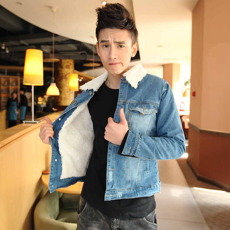 Free Shipping Winter 2013 Washed Lapel New Fashion Denim Jacket Men