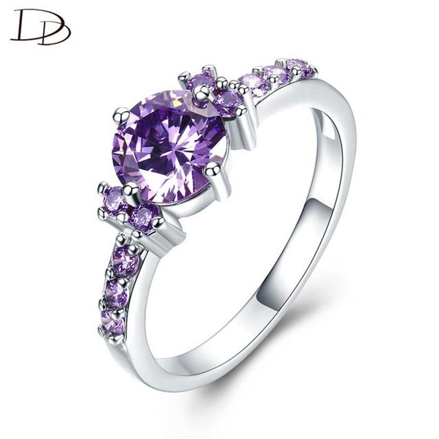 Mysterious Purple Austrian Crystal Rings For Women Wedding 925 Sterling-Silver-J