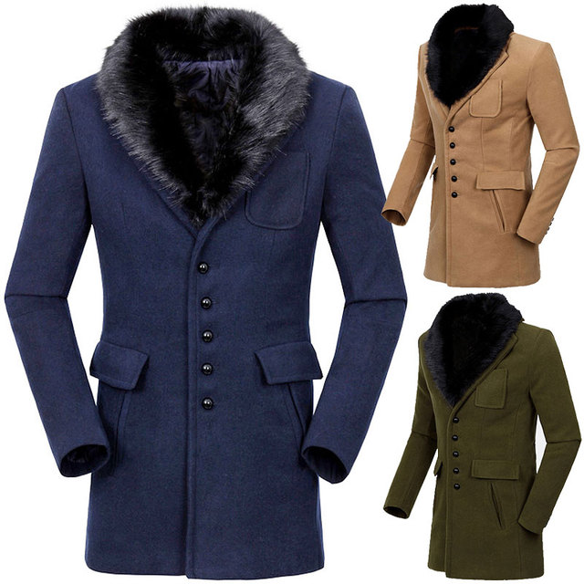Mens wool coats with fur collar