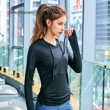 Fitness Sportswear Women Hooded T-Shirt Sport Suit Yoga Top Quick-Dry Running Gym Clothes Shirt