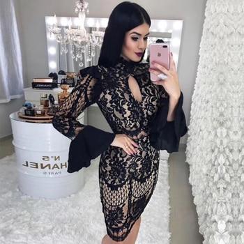Bodycon Bandage Dress Black Long Sleeve Midi Dress Vestidos Clubwear Celebrity Evening Party Dresses