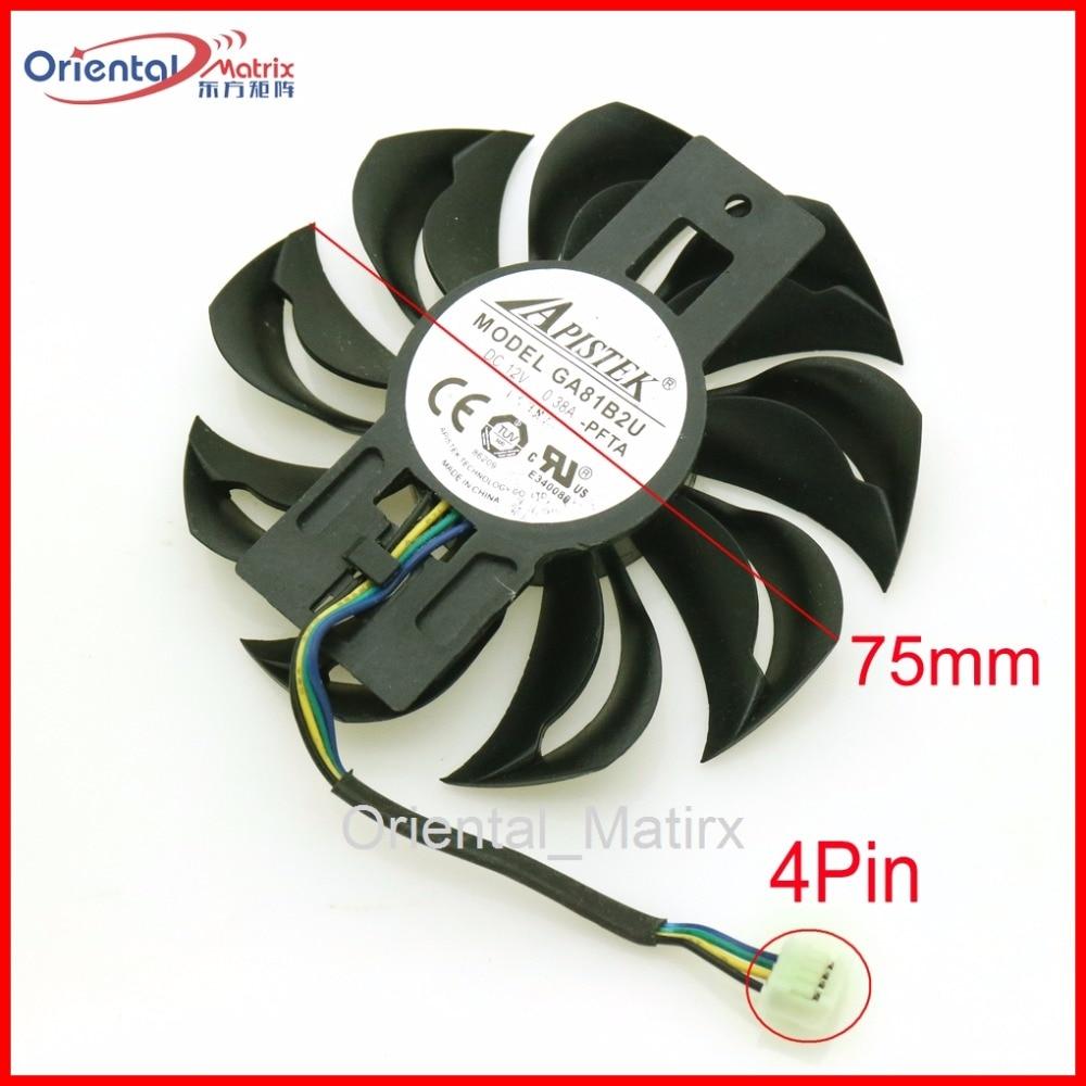 Free Shipping GA81B2U - PFTA 12V 0.38A 4Pin 75mm VGA Fan For Dataland RX460 Graphics Card Cooler Cooling Fan free shipping t129025su 12v 0 38a 4pin for asus hd7970 hd7950 gtx680 directcu ii graphics card fan