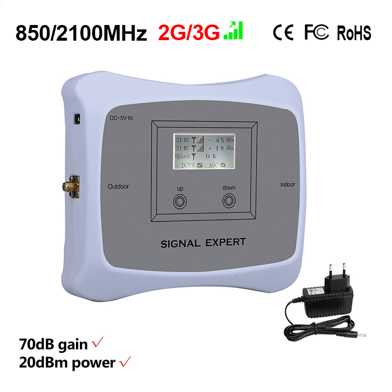 Image 2 - Special offer! DUAL BAND 2G 3G 850/2100mhz mobile signal booster cell phone repeater Cellular amplifier Only device+Adapter-in Signal Boosters from Cellphones & Telecommunications