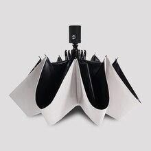 Fashion White Auto Open Auto Close Umbrella Rain Women Men 3 Folding Automatic Umbrella Black Coating Sun Umbrella Mini