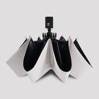 Fashion White Auto Open Auto Close Umbrella Rain Women Men 3 Folding Automatic Umbrella Black Coating