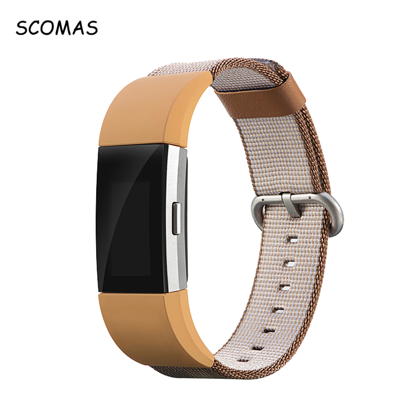 SCOMAS Ersetzen Bänder für Fit bit Ladung 2 Smart Uhr Nylon weben Strap mit Metallschließe für Fitbit Charge2 Fitness-handgelenk-band