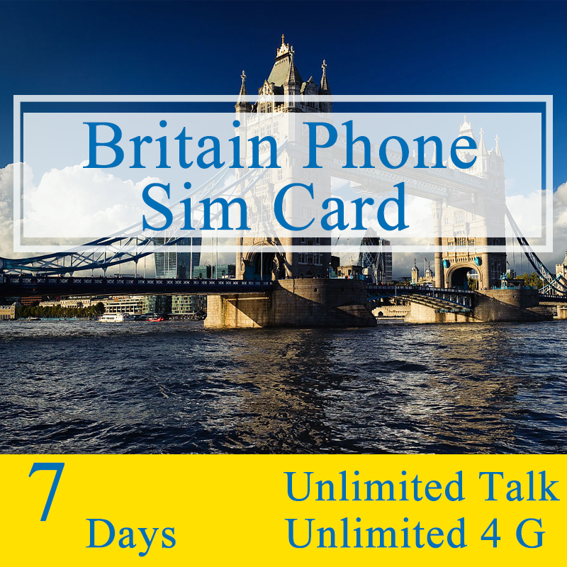UK 7 Days Plan Sim Card With Unlimited Talk Text and Unlimited 4G Traffic 3 IN 1 Travel Mobile <font><b>Phone</b></font> Card Only for UK England