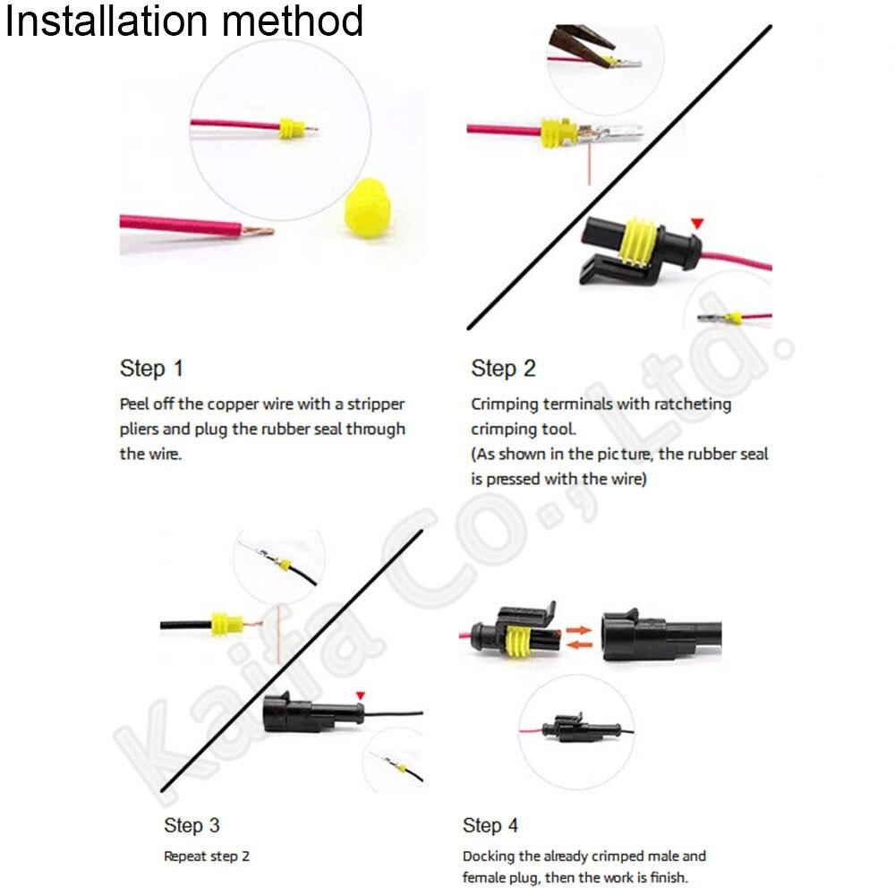 10/pcs 4/pin Way Superseal /étanche /électrique terminal connecteur de fils prise pour auto moto scooter Camion Marine pour automatique pour fil de 1,5 2,5/mm/²