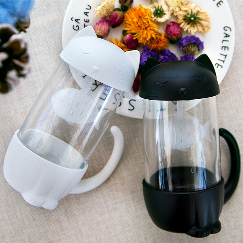 HTB1TD1HadfvK1RjSspoq6zfNpXam Cute Cat Glass Cup Tea Mug With Fish Infuser Strainer Filter Home Offices