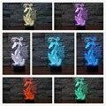 2016 Hot Estilo Chinês Corte de Papel de Dragão 3D Luz Da Noite 7 Alterar cores LED Candeeiro de Mesa de Presente de Natal Antigo Dragão Art Decor lâmpada