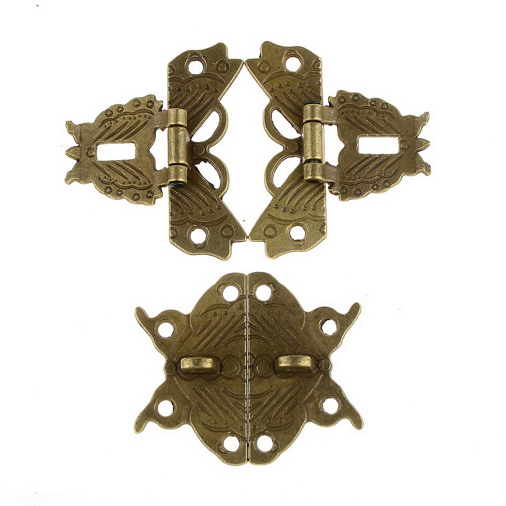 10 set Jewelry Wooden Box Lock Buckle Decorative Hardware Butterfly Clasp Antique Bronze  VBV42 T30 ancient swing hasp jewelry wooden box lock catch latches box buckle clasp hardware alloy buckle