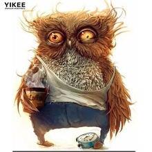 Yikee Алмазная картина Сова кофе полный квадрат/круглая дрель