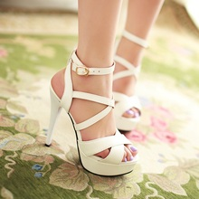 2014 summer Fashion sexy waterproof ankle cross strap women 13CM high heels sandals thin heels platform