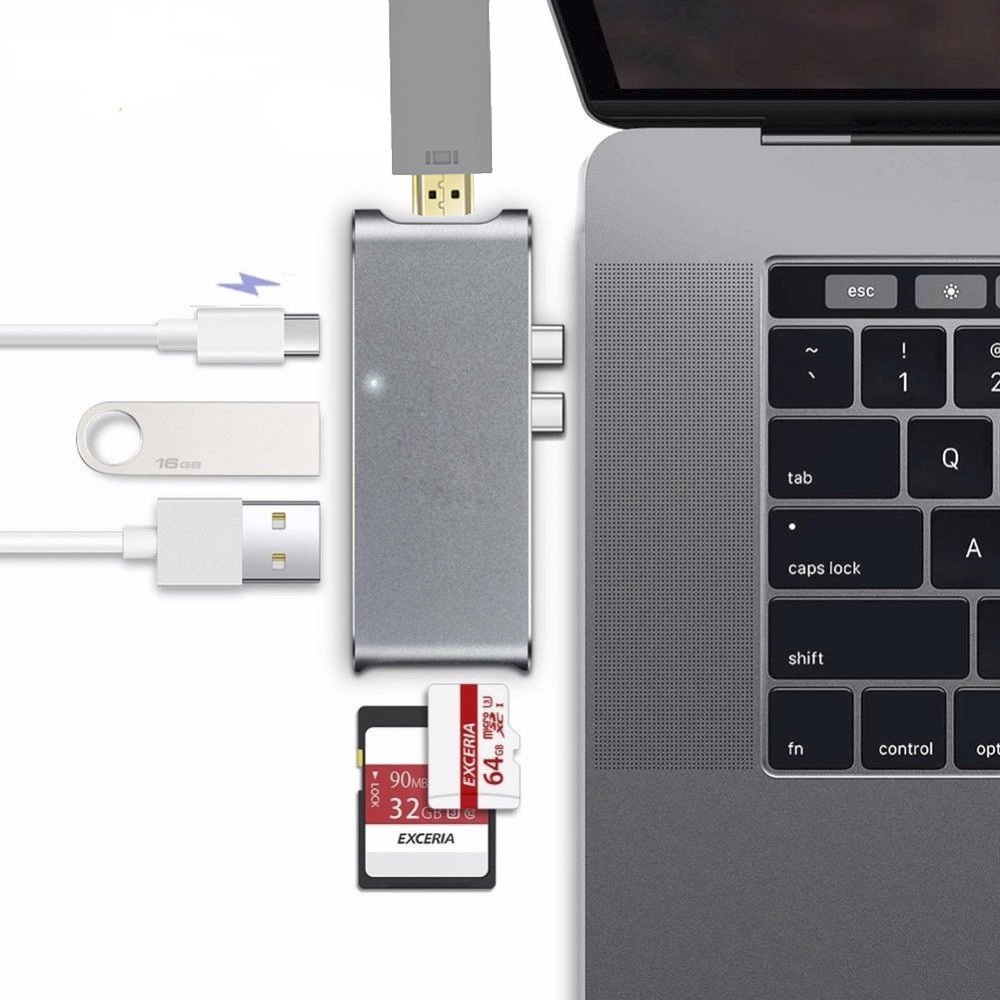 New for Macbook Pro 15 Touch Bar 2 USB Type-C 3.0 Adapter to 4K HDMI +2 Ports USB 3.0 + SD / TF Card Reader + Charging Port for macbook new pro 13 15 usb c type c to hdmi adapter converter 4k 30hz uhd graphics video extender usb 3 1 smart power charge