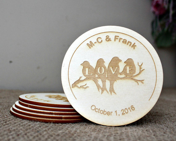 Personalised Coasters Wedding Favours Rustic Valentines Day Gift Round Wood