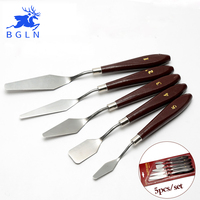 5Pcs Mixed Stainless Steel Palette Scraper Set Spatula Knives For Artist Oil Painting Tools Painting Knife