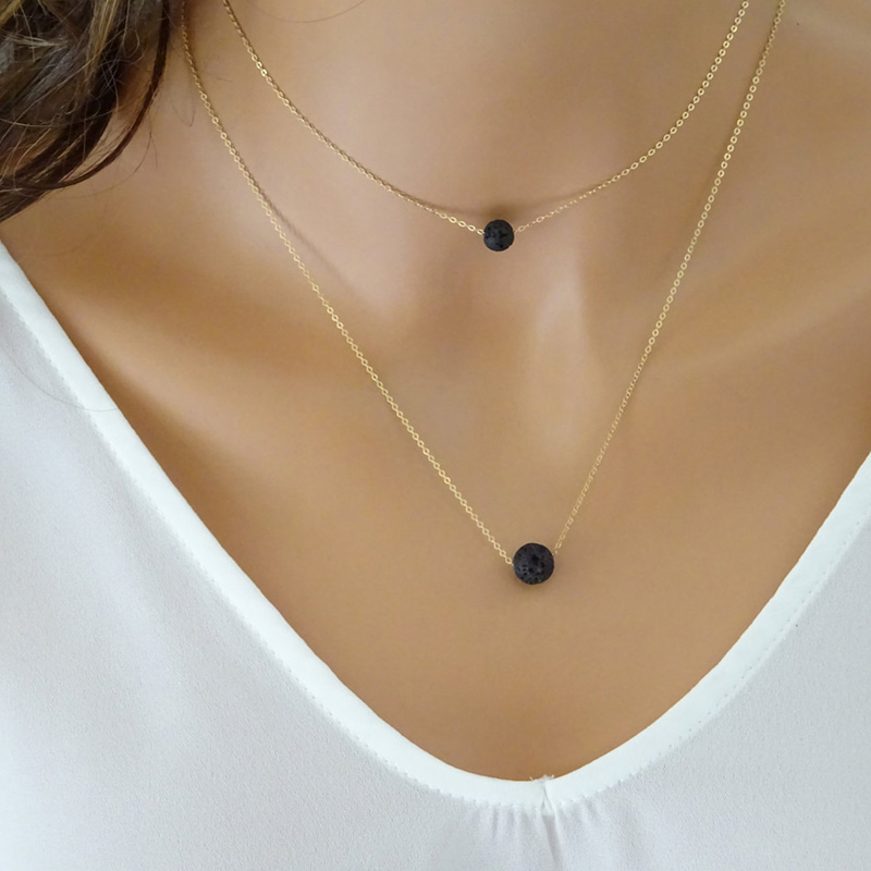 Black Volcanic Stone Double Layer Necklaces Pendants Simple Gift