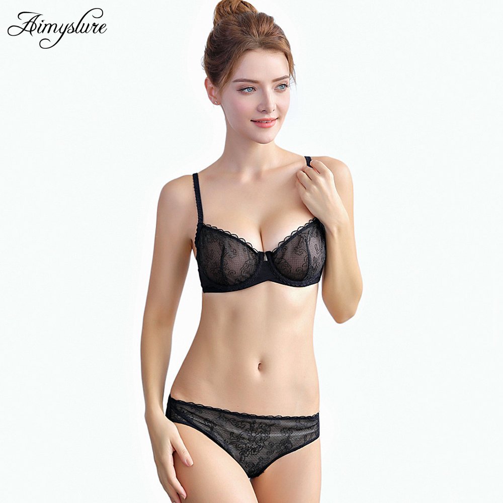 Buy Sexy Transparent Bra Set Ultra-thin Lingerie Underwear Solid Lace See Intimates Fashion Women Underwire Soft Bra Sets