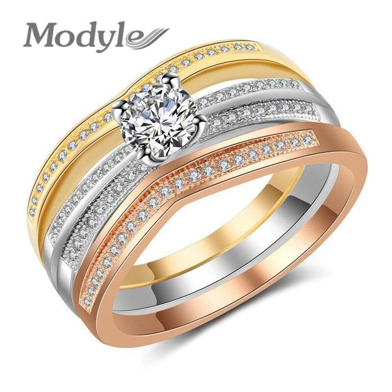 Verlobungsringe Zuversichtlich Modyle 2018 Neue Mode Gold/silber/rose Gold Farbe Drei-schicht Zirkonia Hochzeit Ring Für Mann