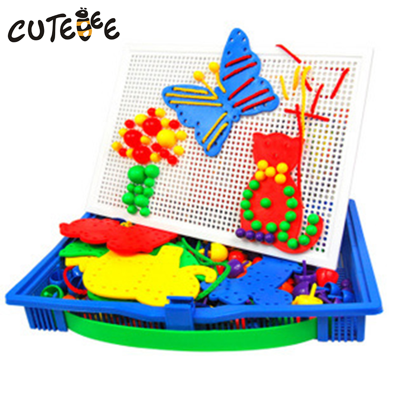 CUTEBEE Wooden Toys for Children Montessori Toy Puzzle Educational Mushroom Nails Buckle Plate Board for Kids Baby Toys cutebee wooden toys for children montessori toy pretend cube educational color tool repair box for kids baby toys