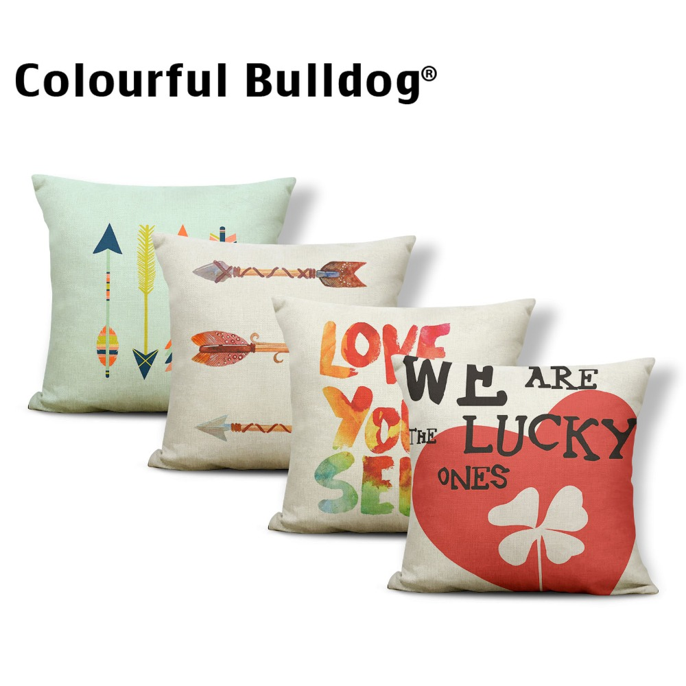 Word Color Cushion Cover Love Pillowcase Nautical Couch