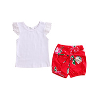 2pcs!!Cute Toddler Kids Baby Girl Clothing Set Lace Tops Shirt+ Bowknot Floral Shorts Outfits Set Clothes