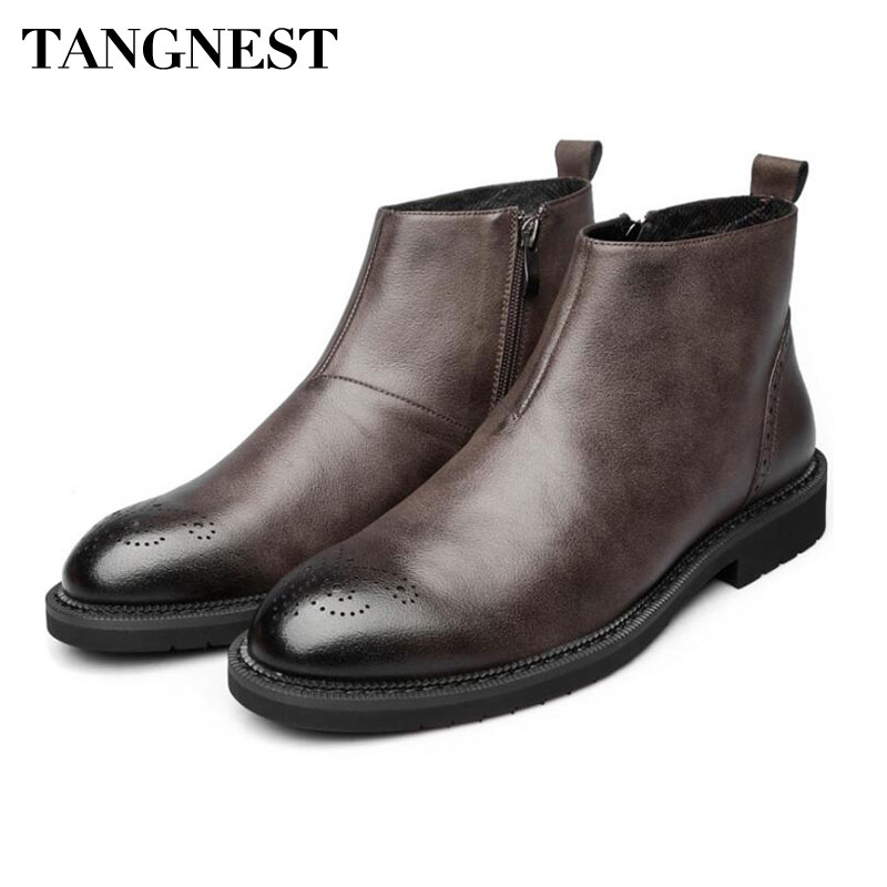 c33bd420975 🛒 Tangnest Men's Genuine Leather Ankle Boots NEW Autumn Cow Leather ...