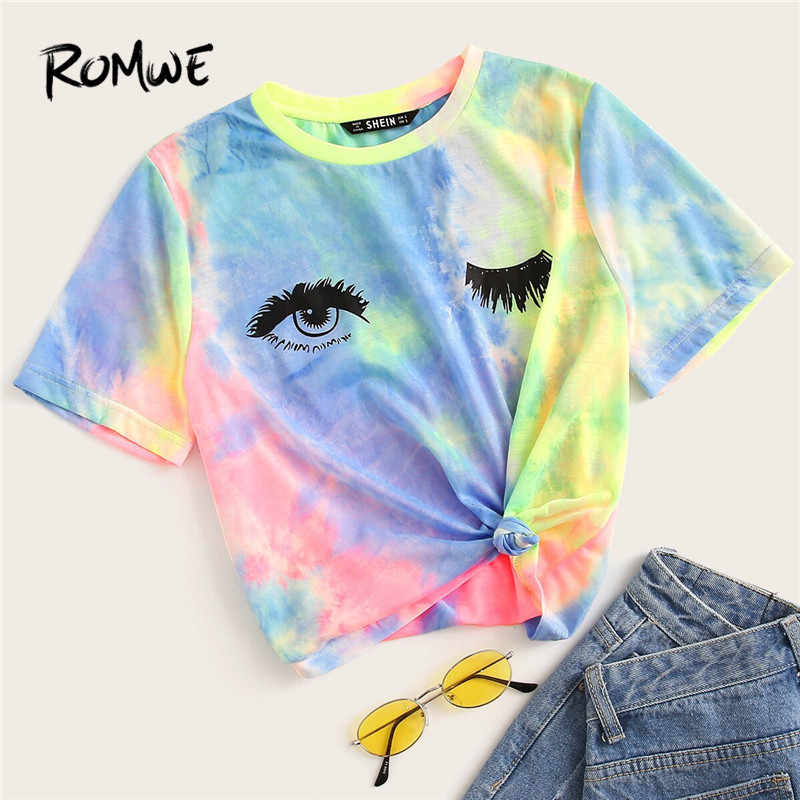 ROMWE Chic Multicolor Tie Dye Eye And Eyelash Print Short Sleeve T Shirts Woman Streetwear Summer Stretchy Colorful Tops Tees