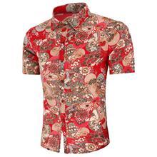 Linen Shirt Men Casual Floral Mens Dress Shirts Red Flower Blouse Short-sleeved Summer
