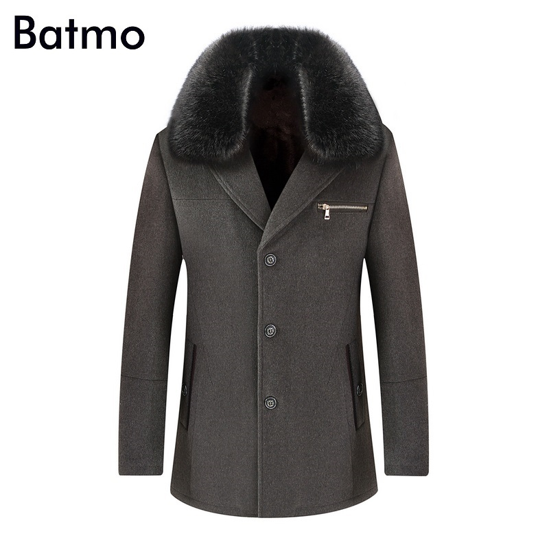 Batmo 2019 winter wram Liner   trench   Men single Breasted   Trench   Coat Men Outerwear Casual Men's Jacket Windbreaker L-4XL