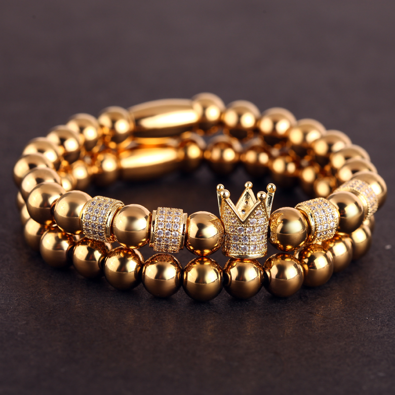 Mcllroy Ouro Masculino Pulseira de Contas Pulseiras Para As Mulheres Homens de Aço Inoxidável Coroa Configuração Pave Charme Jóia Da Forma da jóia Dos Homens