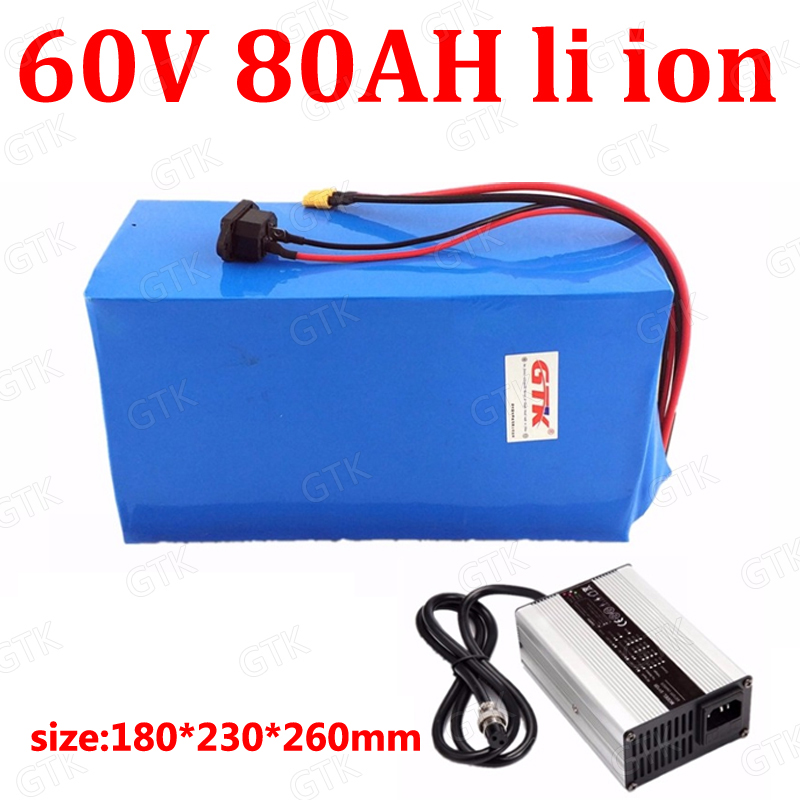 10a Charger Power Source Humble Gtk Lithium Ion 60v 80ah Rechargeable Bateria For 6000w Scooter Electric Tricycle Quadricycle Motorcycle Vehicle