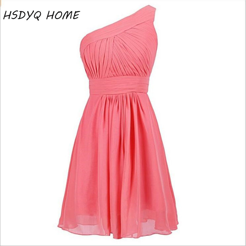 HSDYQ HOME Summer Chiffon short   Bridesmaid     Dresses   2018 New Fashion one shoulder Wedding Party   Dresses   robe Formal   dress