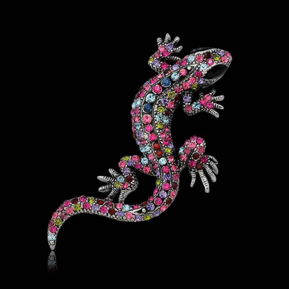 CINKILE Gecko Lizard Spilla Spille Le Donne e Gli Uomini Spille Con Strass Vintage Animale Spille Vestito Accessori Del Partito Dei Monili Nuovo 2017