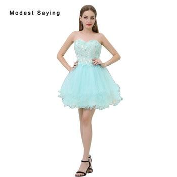 ba62b8935449263 Сексуальное вечернее платье без бретелек с бисером Короткие кружевные  платья для возвращения домой 2017 для Размеры 18 девочек мини 8th класс в.