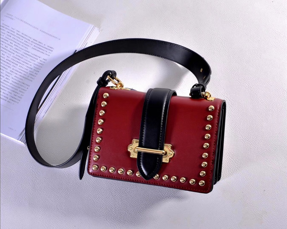 Kafunila Luxury Handbag Women Bags genuine leather Designer Rivet Crossbody Bags For Women Messenger Shoulder Bag bolsa feminina genuine leather studded satchel bag women s 2016 saffiano cute small metal rivet trapeze shoulder crossbody bag handbag