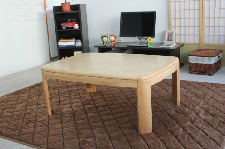 Japanese Kotatsu Coffee Table Rectangle 120cm Natural Finish Living Room Furniture Foot Warmer Heated  Low Floor Table Wooden odd ranks yield retro furniture living room coffee table corner a few color seattle bedroom nightstand h