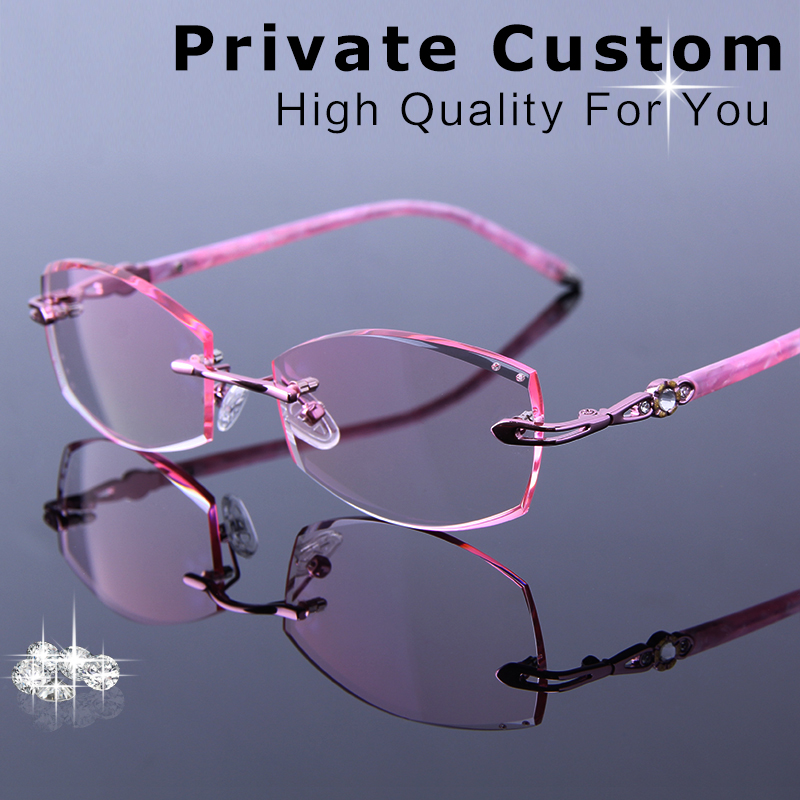 Fashion Rimless Eyeglasses Female Prescription Optical Rhinestone High Hard Lenses Glasses Women Myopia Eyewear For Multi