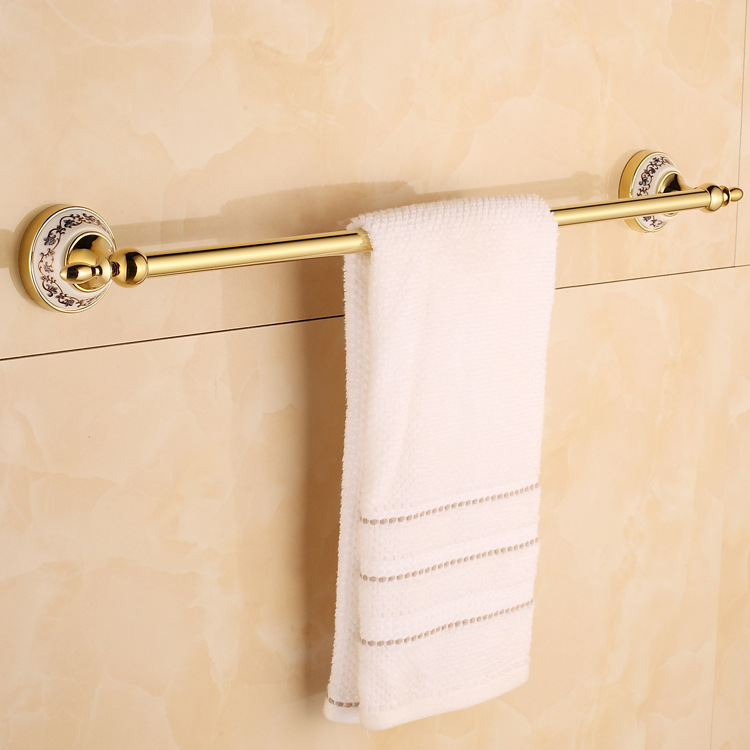 European Plated Gold Stainless Steel Bar stainless steel bathroom accessory single Towel Bathroom Accessories