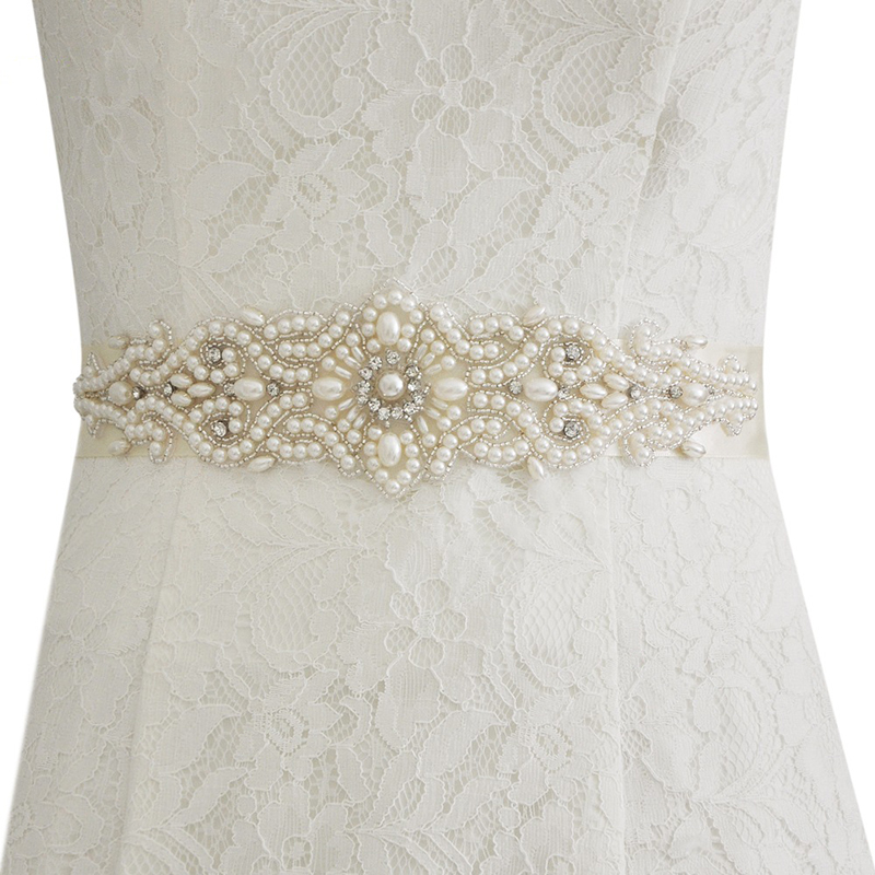 Women Wedding Dress 3D Floral Pearl Waistband Sash Satin Bridal Belt Gown Ribbon