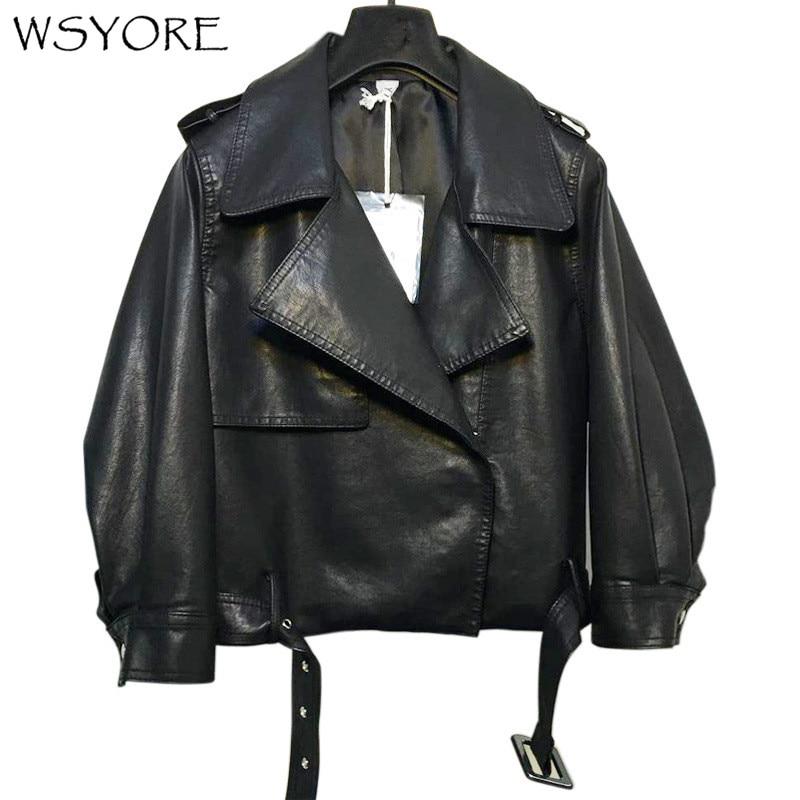 WSYORE veste en Faux cuir printemps manteau 2019 nouveau automne mode Biker vestes PU cuir court Bomber veste NS262