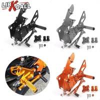 For KTM Duke 125 200 390 2011 2012 2013 2014 2015 2016 CNC Adjustable Rider Rear Sets Rearset Footrest Foot Rest Pegs Orange Blk