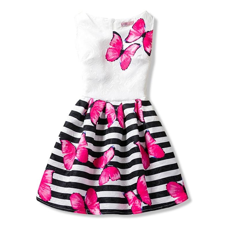 8869c81da0351 Girls Sundress Summer Butterfly Floral Print Children Dresses for Girls  Designer Formal Party Dress Kids Vestido 6 8 10 12 Years