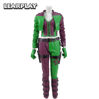 Injustice 2 Harley Quinn Cosplay Costume 2017 Green&Purple Women fight Suit PU leather Clown Fancy Dress Halloween Outfit
