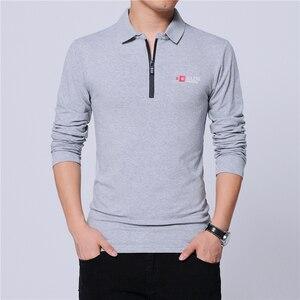 Image 1 - ARCSINX אופנה קוריאני פולו חולצת גברים Slim Fit מותג גברים של פולו חולצות בתוספת גודל 5XL 4XL 3XL שחור ארוך שרוול גברים של Polos